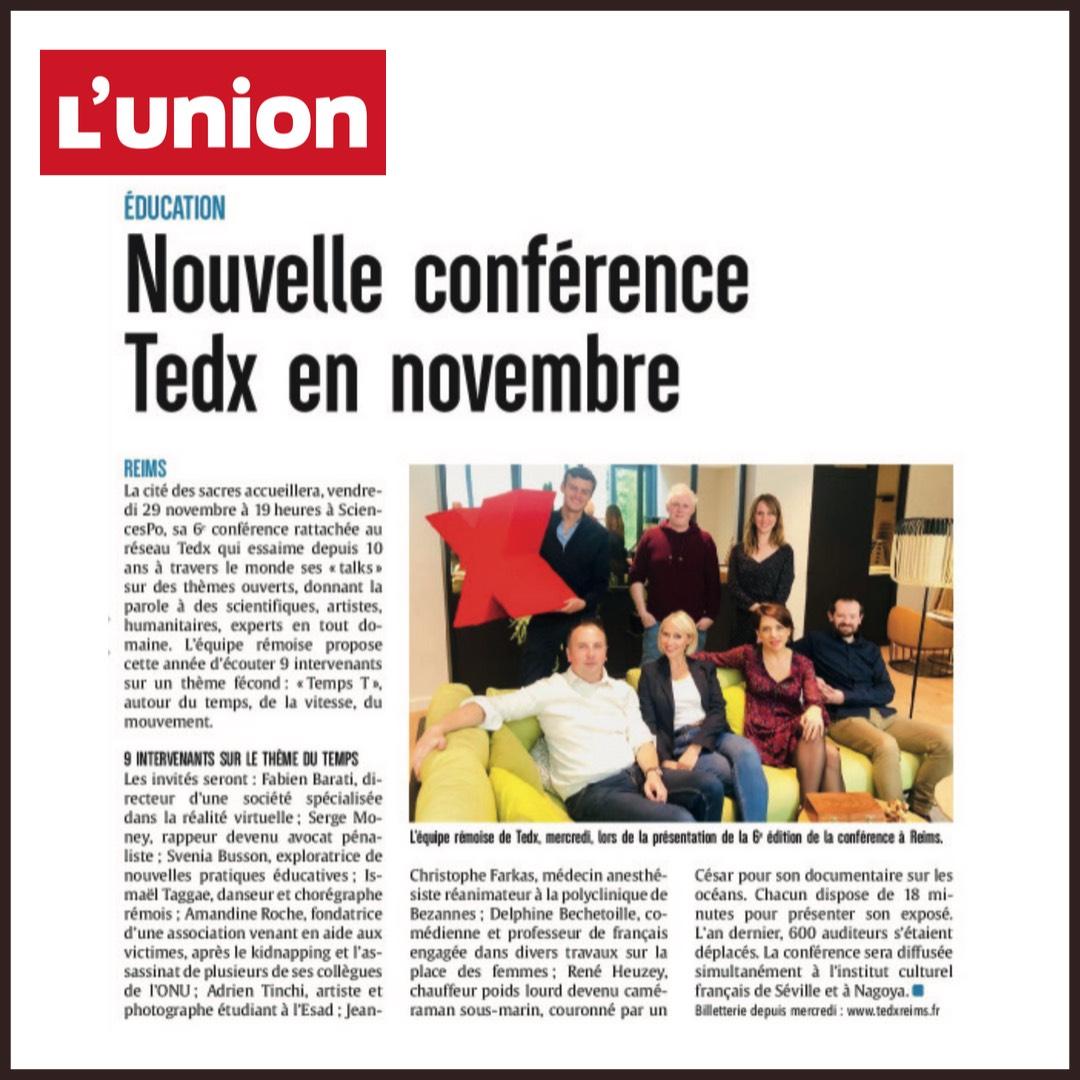 """L'article de l'Union sur l'édition TEDxReims 2019 """"Temps T"""""""