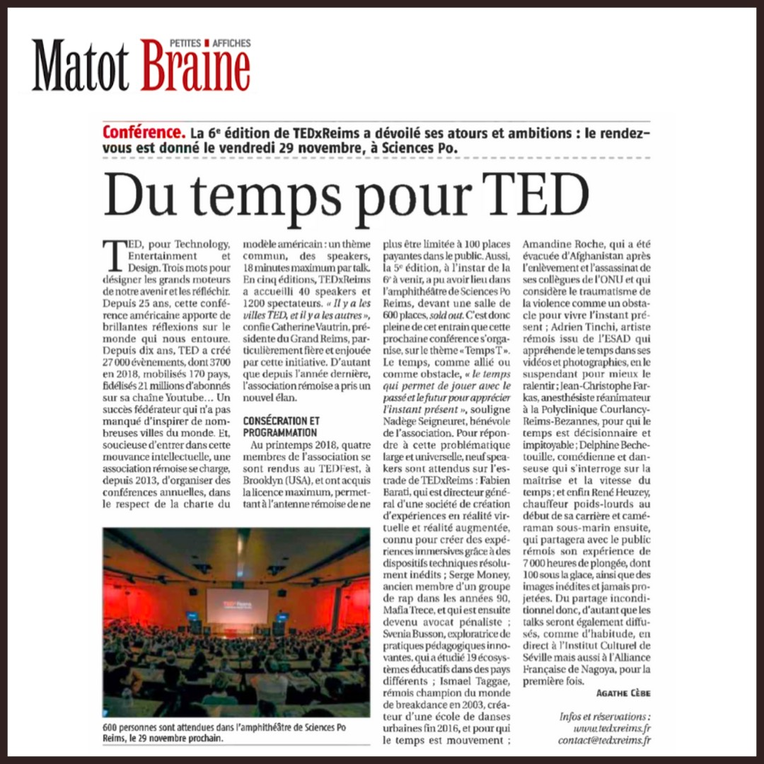 """L'article de Matot Braine sur l'édition TEDxReims 2019 """"Temps T"""""""