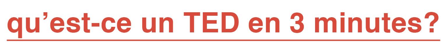 qu'est-ce qu'un TED en 3 minutes?